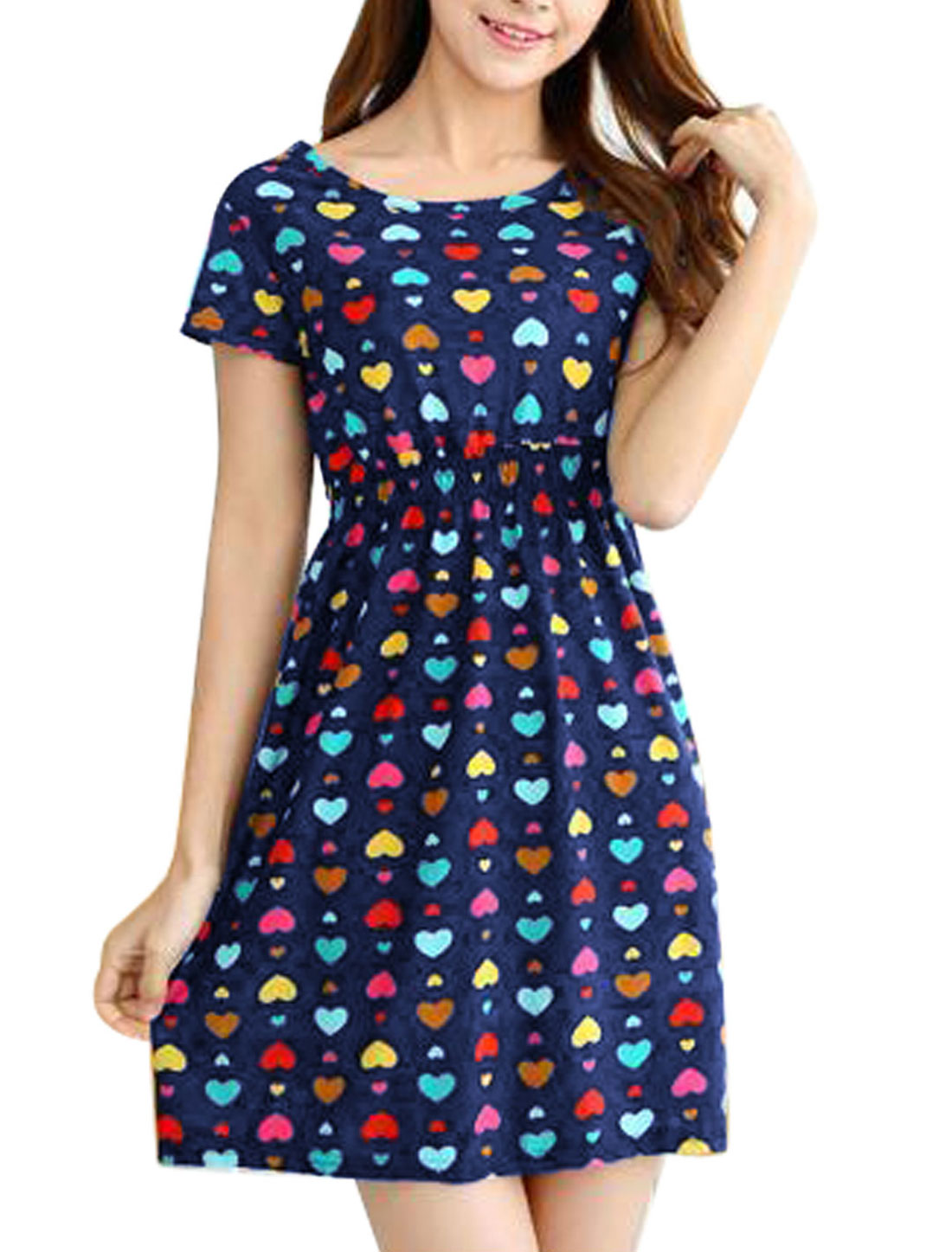 Woman Hearts Pattern Round Neck Short Sleeves A Line Dress Navy Blue XS