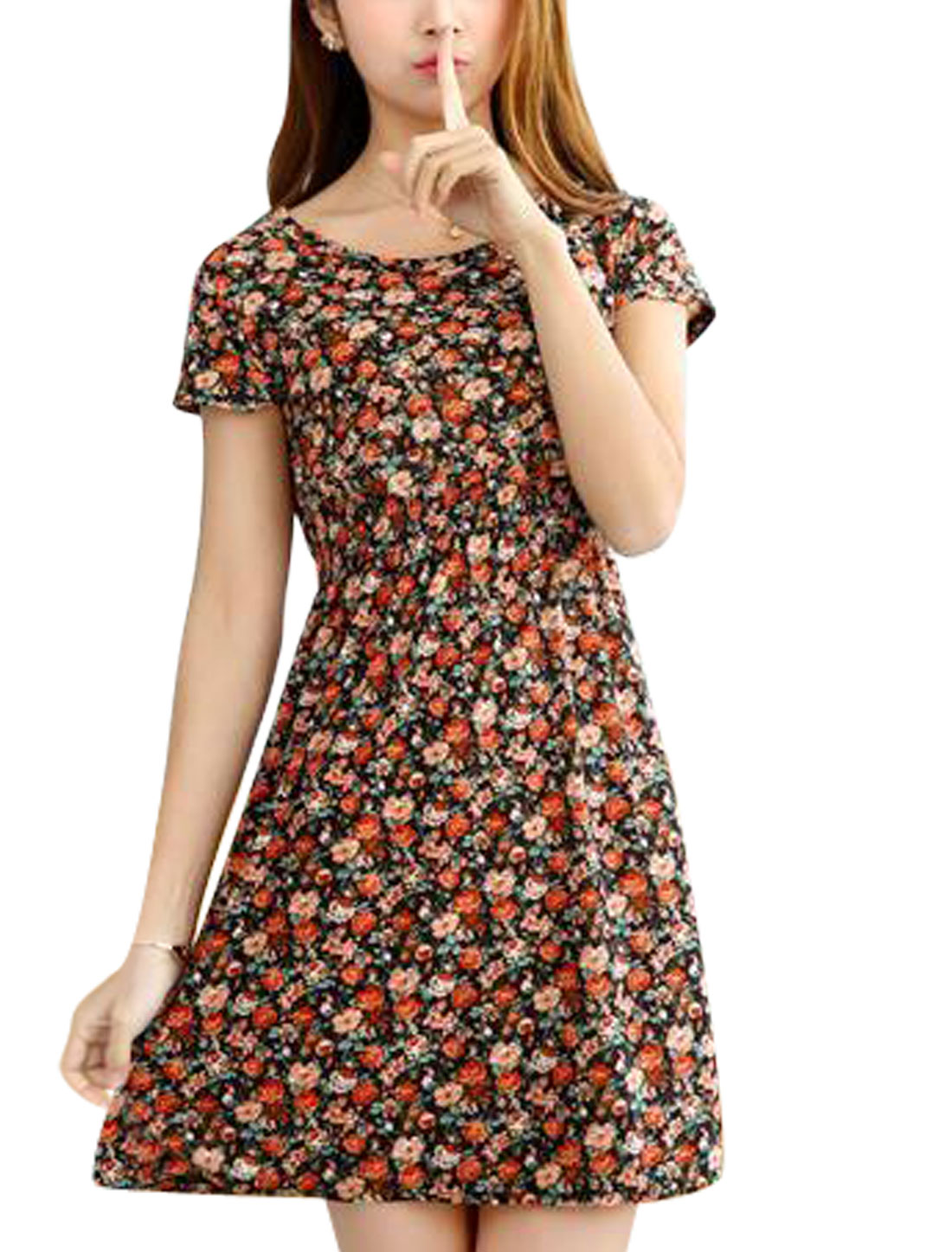 Woman Roses Prints Elastic Waist Short Sleeves Summer A Line Dress Black XS