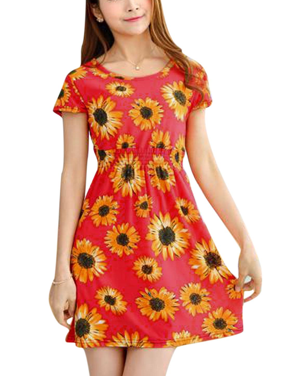 Woman Flower Prints Elastic Waist Short Sleeves Summer Dress Warm Red XS