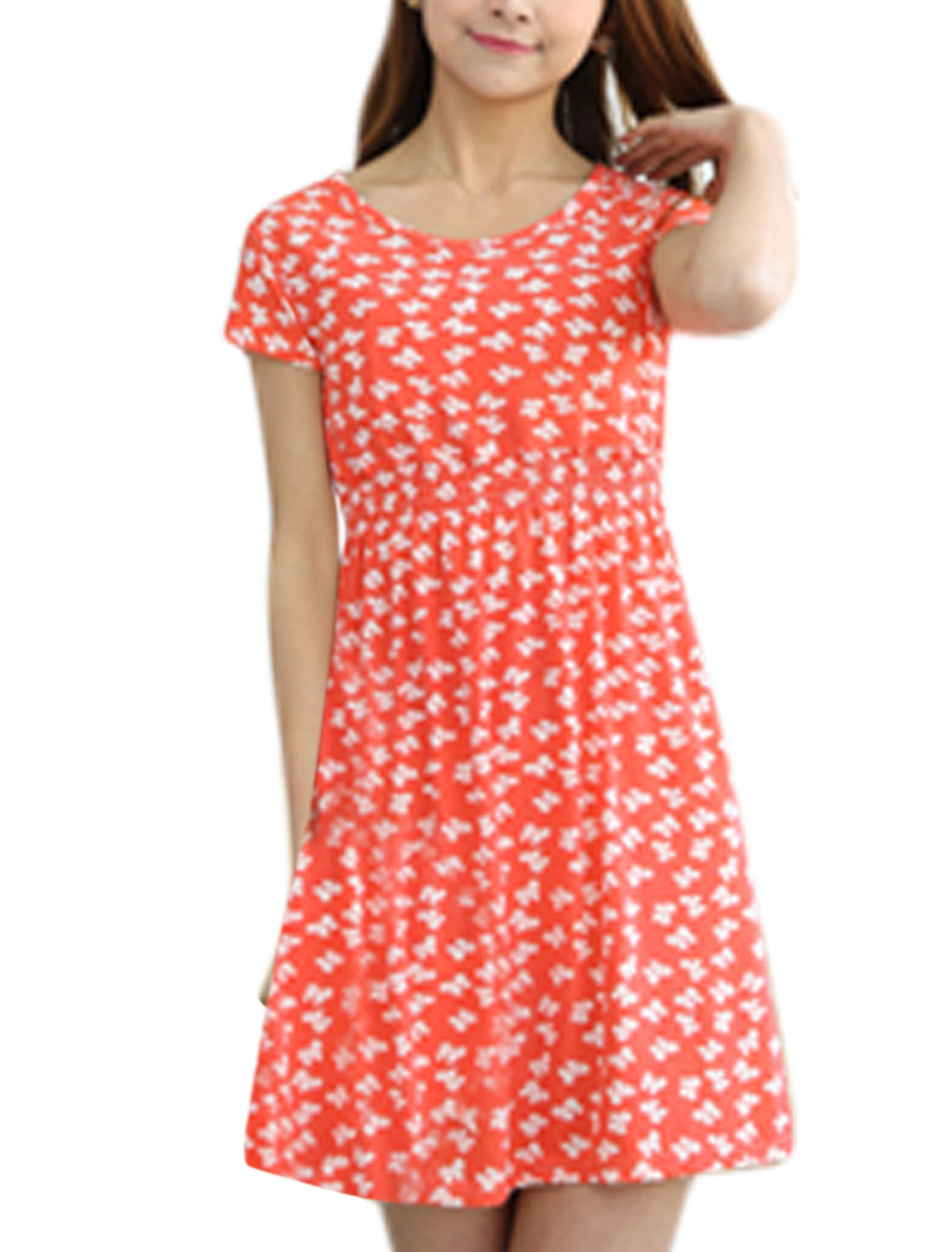 Woman Bowknot Pattern Round Neck Short Sleeves A Line Dress Salmon XS
