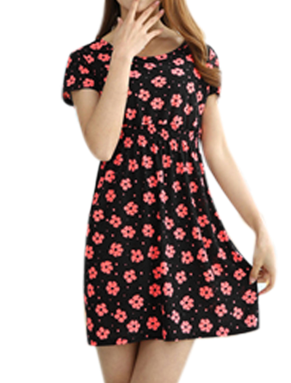 Lady Floral Prints Short Sleeves Slim Fit Slipover Summer Dress Black XS