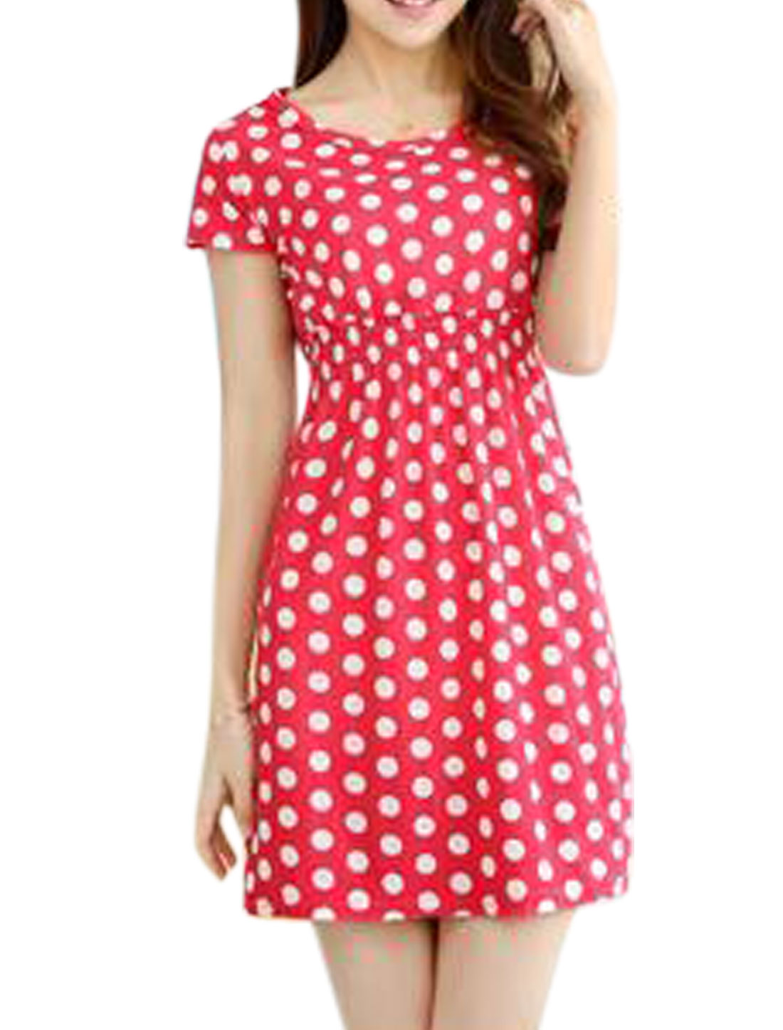 Ladies Polka Dots Prints Round Neck Short Sleeves Mini A Line Dress Fuchsia XS