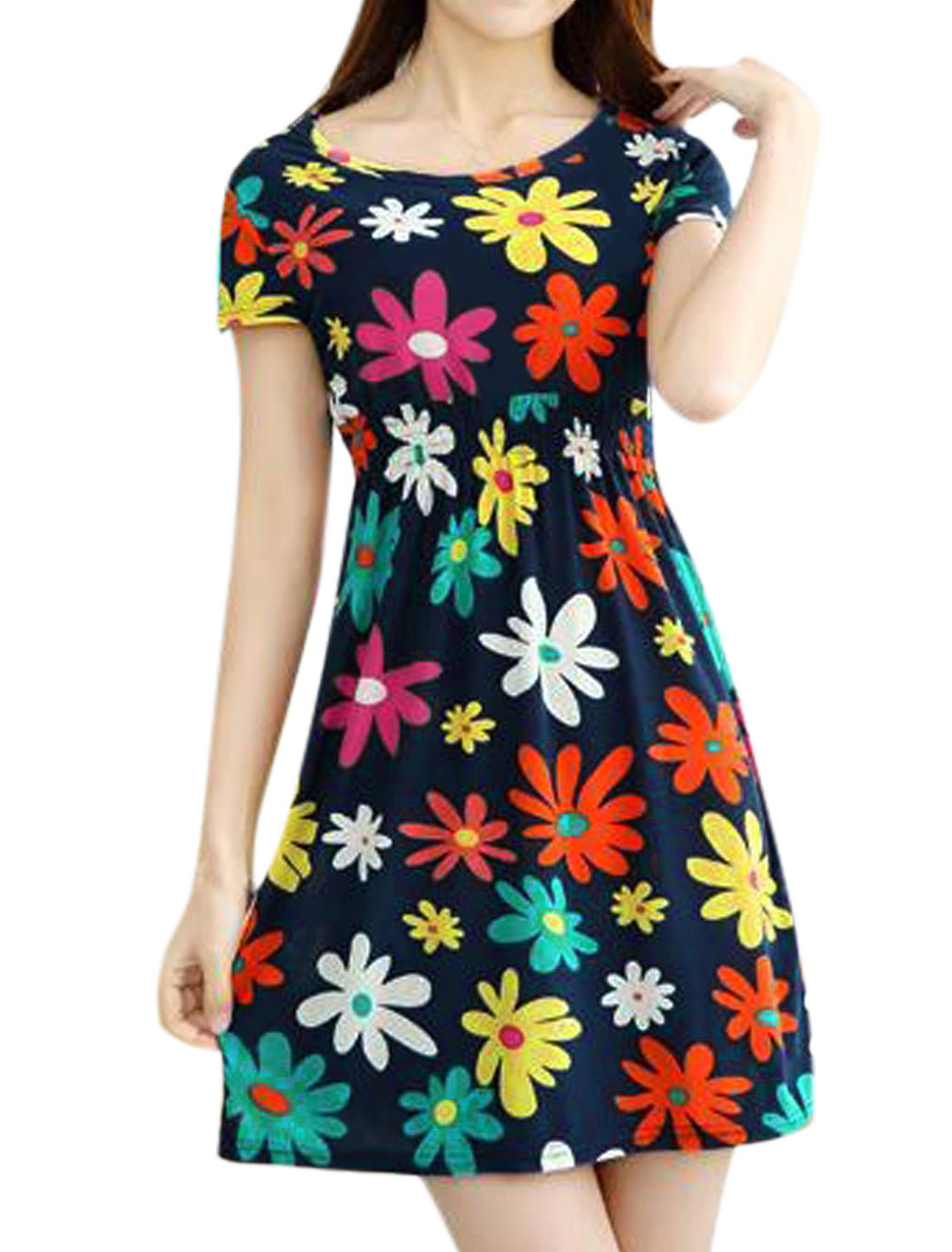 Lady Floral Prints Slipover Slim Fit Casual Summer A Line Dress Navy Blue XS