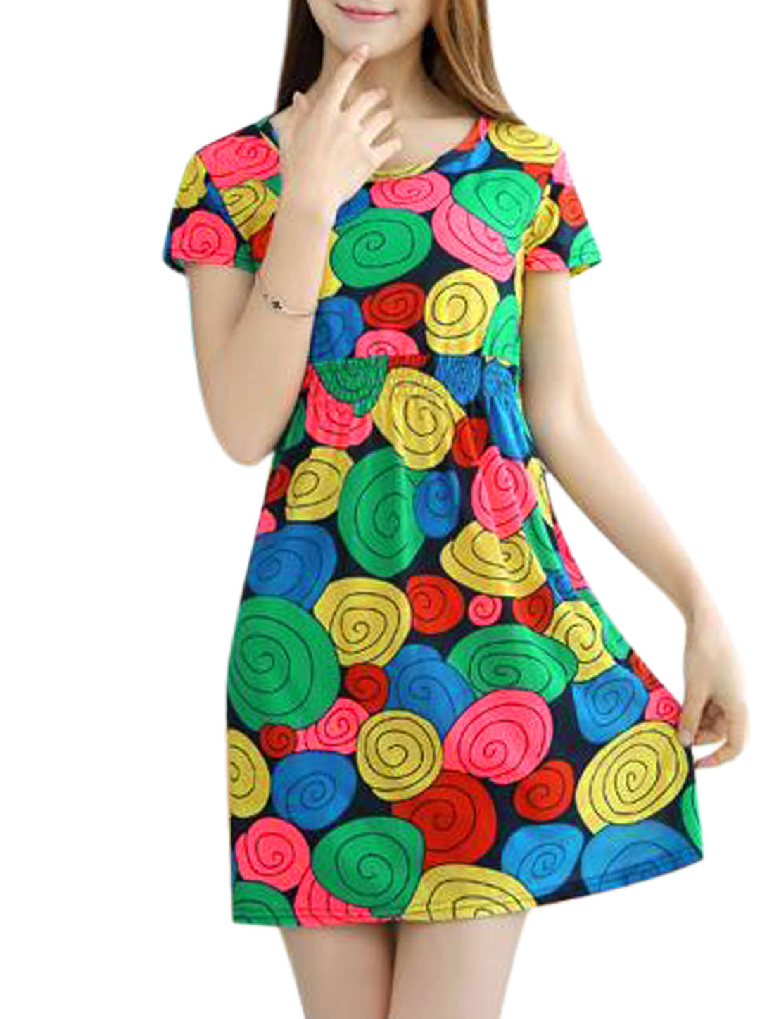 Woman Novelty Prints Elastic Waist Leisure Summer Dress Multicolor XS