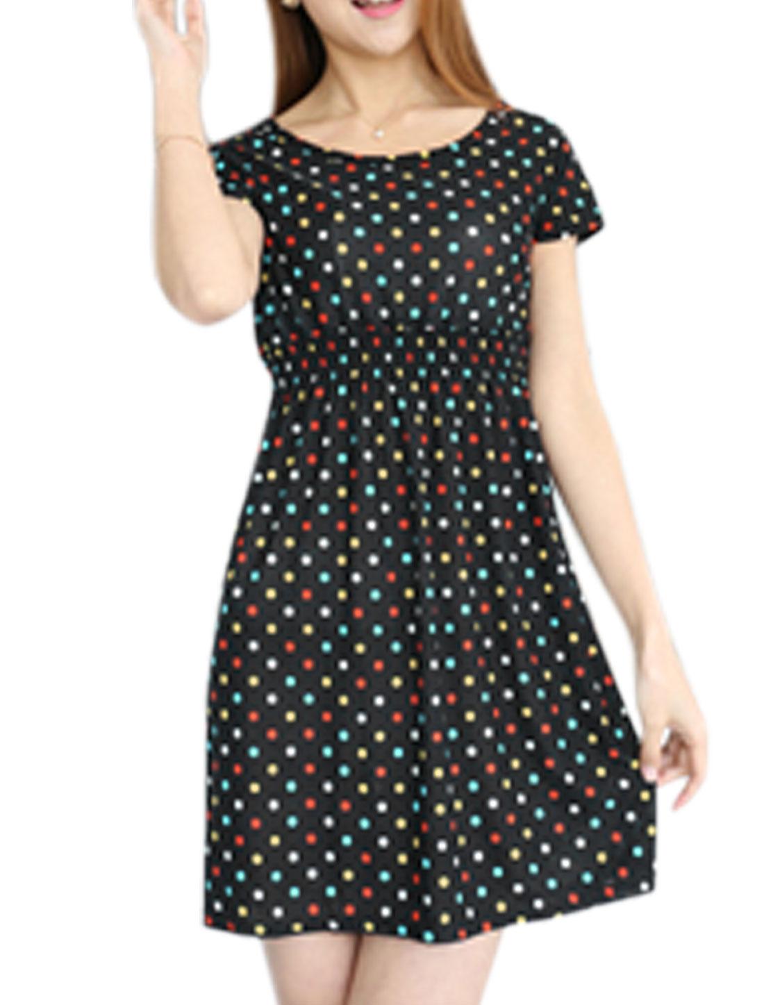 Woman Polka Dots Prints Slim Fit Casual Summer Dress Black XS
