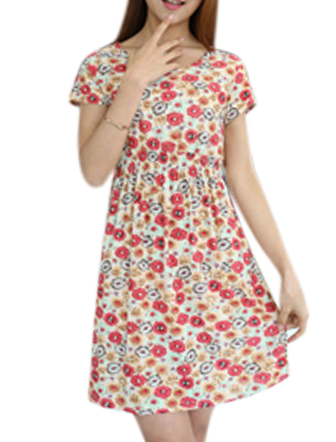 Woman Floral Prints Elastic Waist Slim Fit Summer Dress Multicolor XS