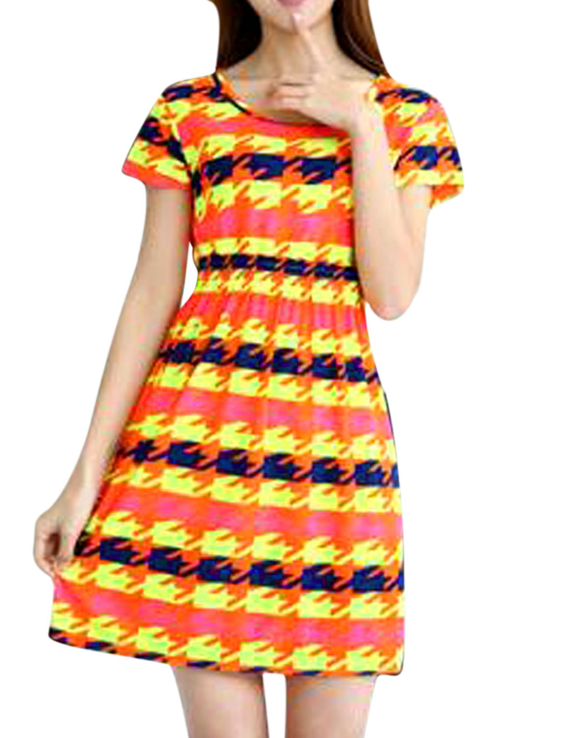 Woman Houndstooth Pattern Round Neck Short Sleeves Slipover Dresses Multicolor XS