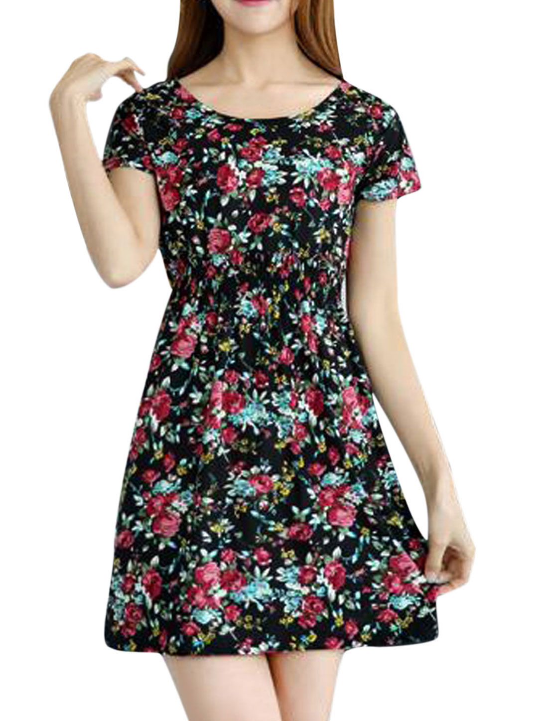 Woman Flower Prints Elastic Waist Short Sleeves Slipover A Line Dress Black XS