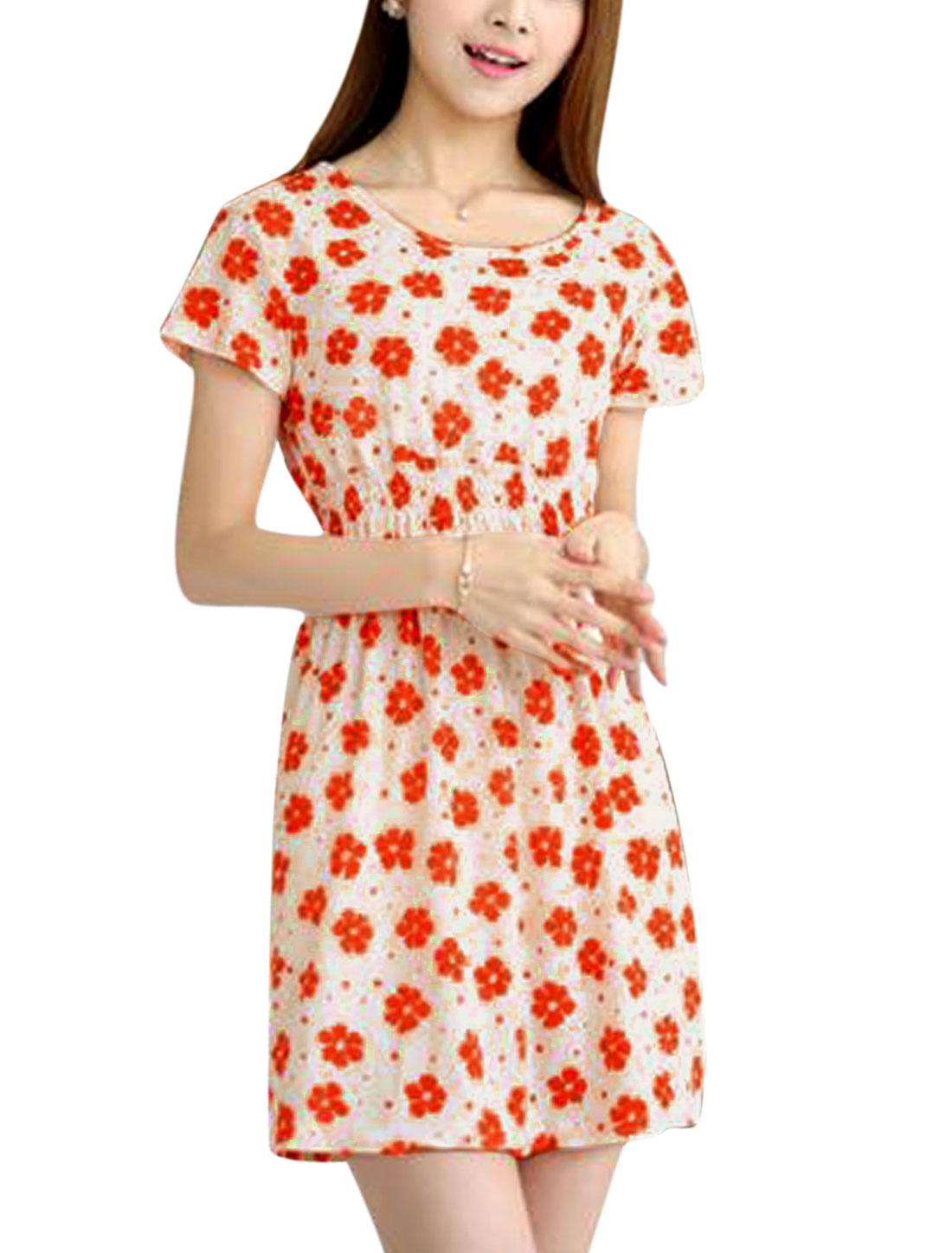Woman Floral Prints Round Neck Short Sleeves Elastic Waist Dress Apricot XS
