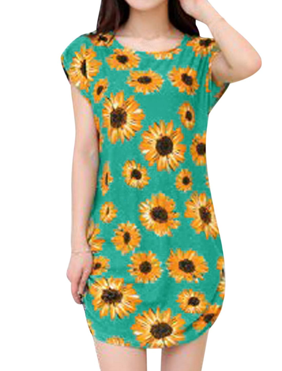 Woman Sunflowers Pattern Round Neck Short Sleeves Dress Green S