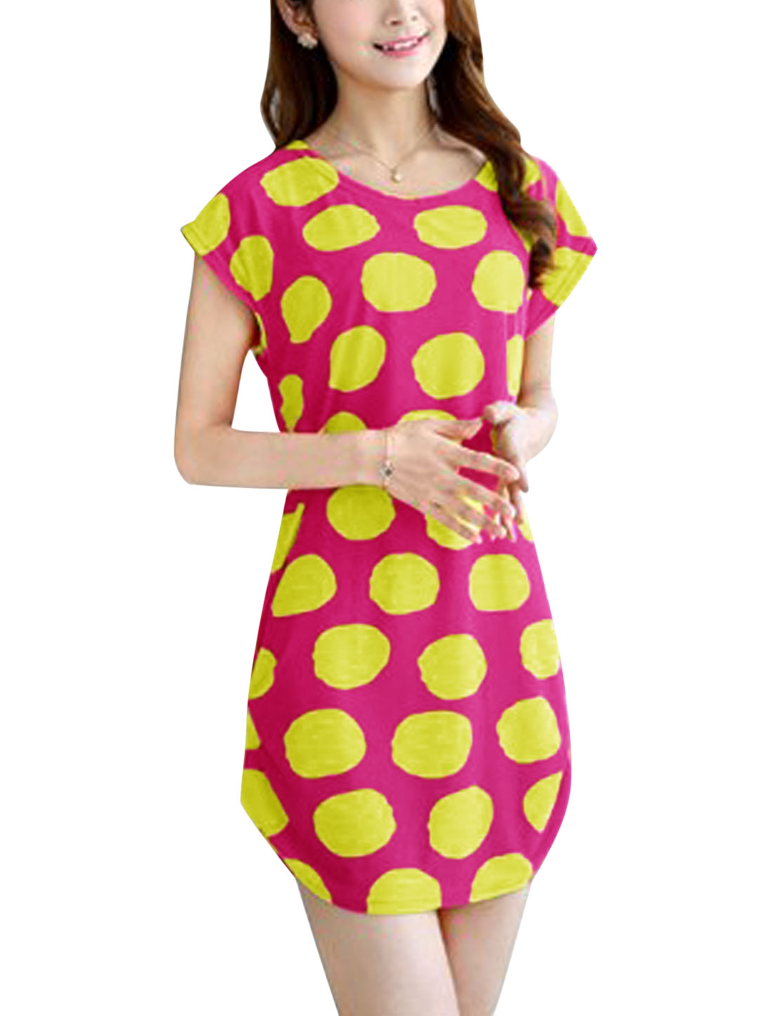 Ladies Polka Dots Prints Round Neck Shirred Sides Tunic Dress Fuchsia S