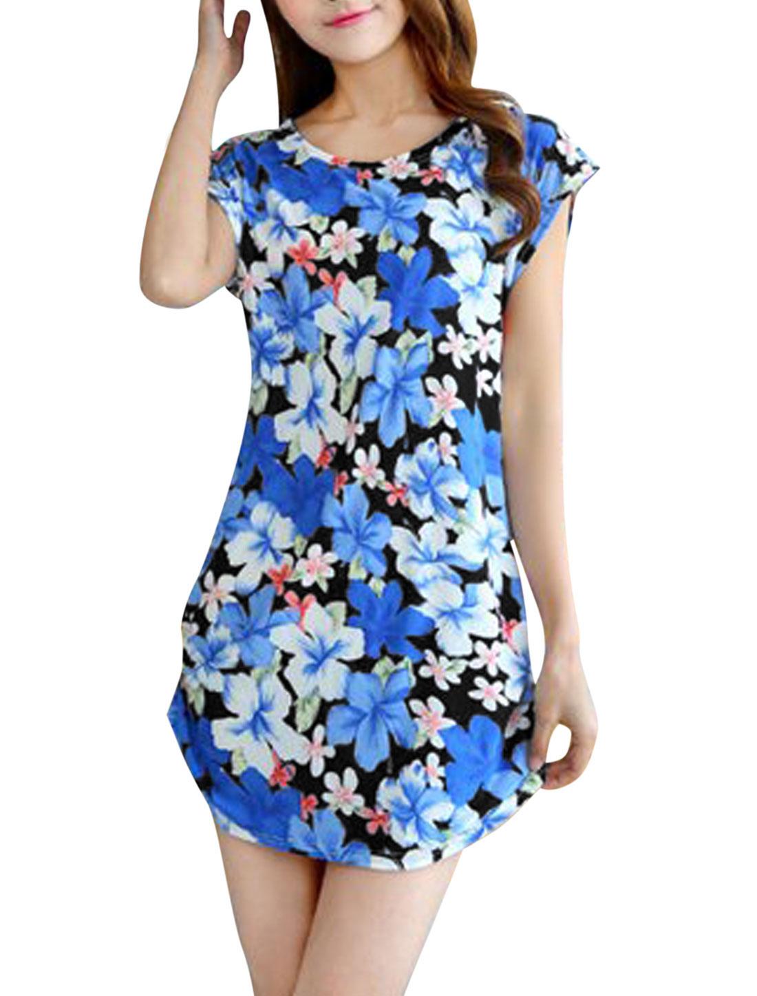 Woman Floral Prints Short Sleeves Summer Mini Dress Blue S