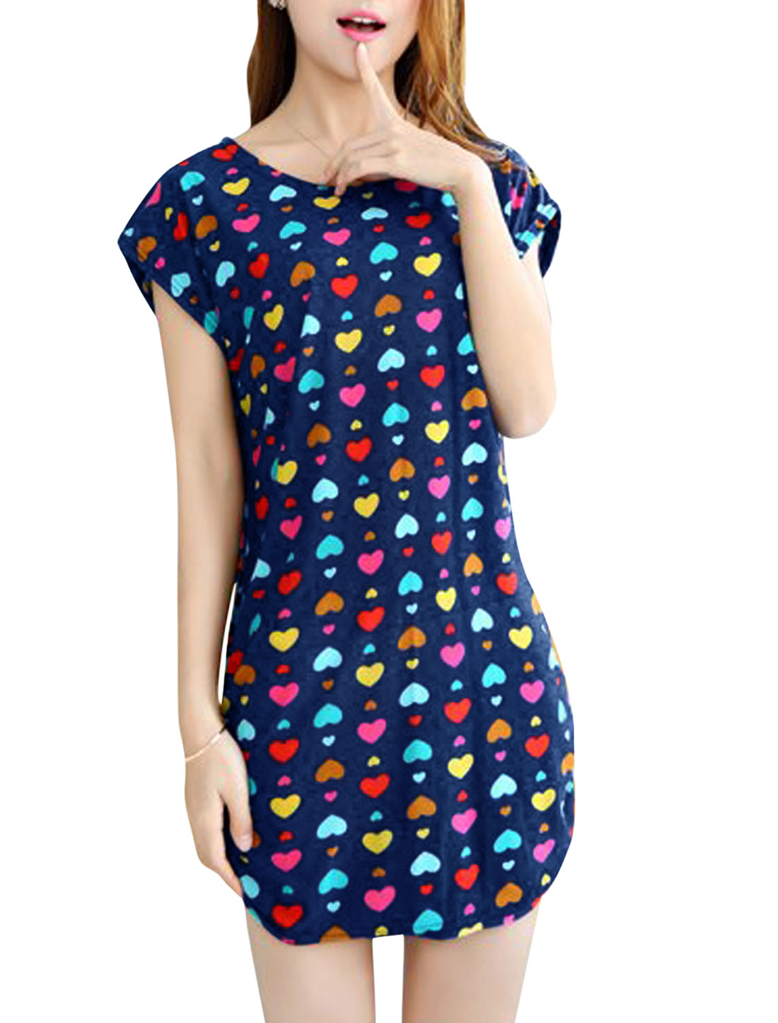 Woman Hearts Pattern Short Sleeves Shirred Sides Casual Dress Dark Blue S