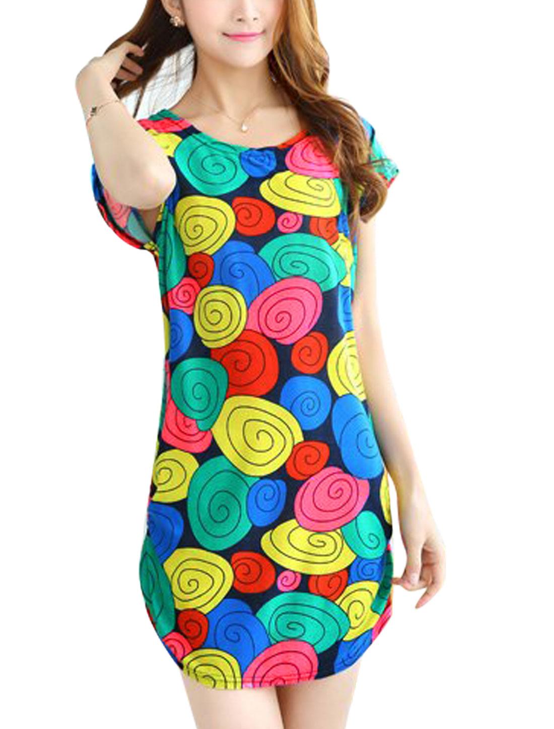 Women Round Neck Short Dolman Sleeves Novelty Prints Tunic Dress Multicolor S