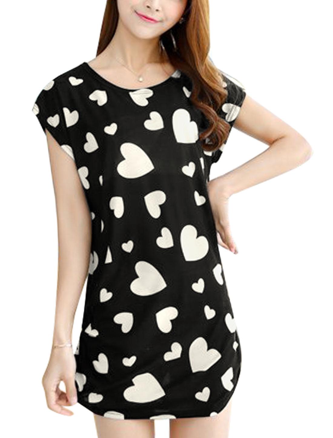 Women Short Dolman Sleeves Hearts Prints Shirred Sides Tunic Dress Black S