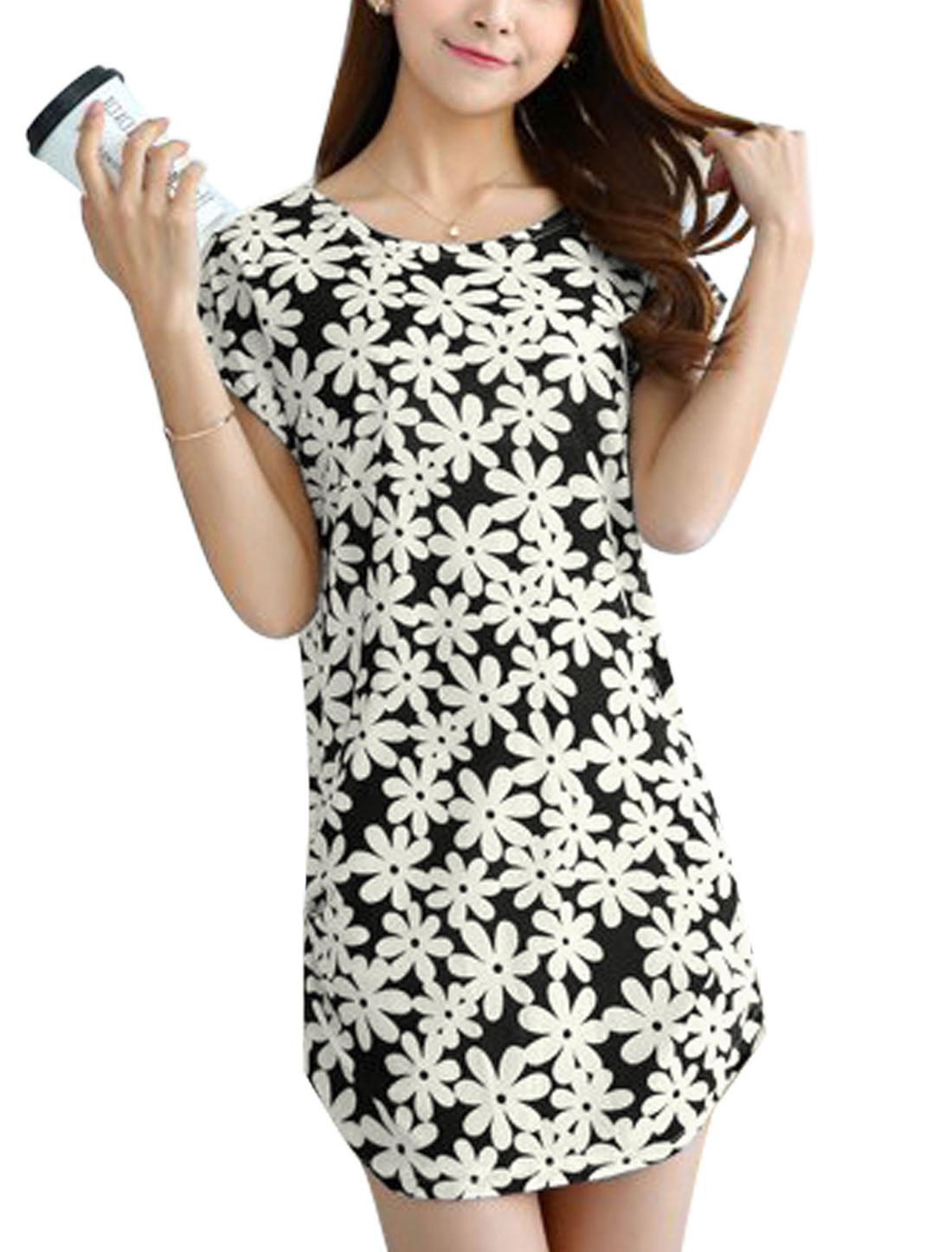 Women Flower Prints Short Dolman Sleeves Unlined Casual Mini Dress Black S