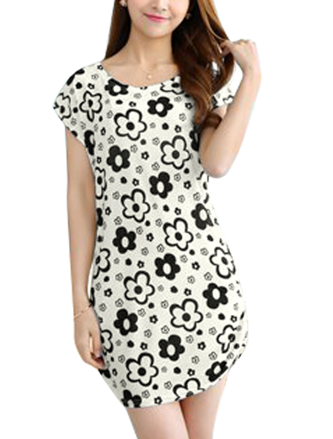 Ladies Short Dolman Sleeves Shirred Sides Round Neck Floral Dress White S
