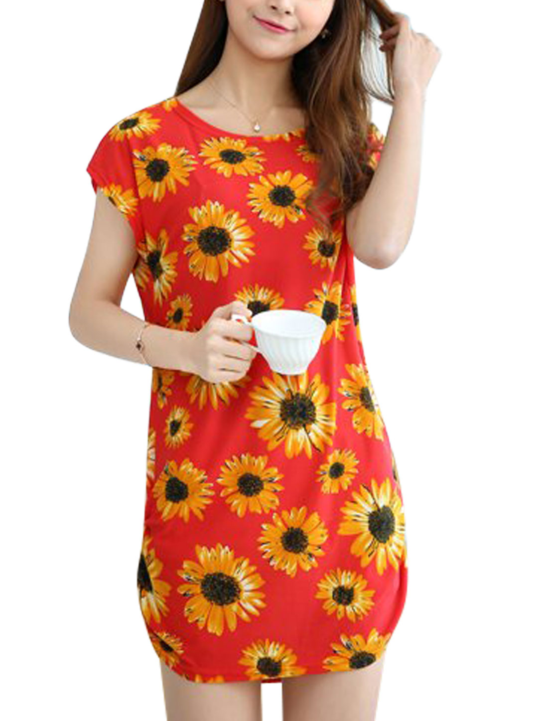 Ladies Round Neck Dolman Sleeves Flower Prints Casual Tunic Dress Red S