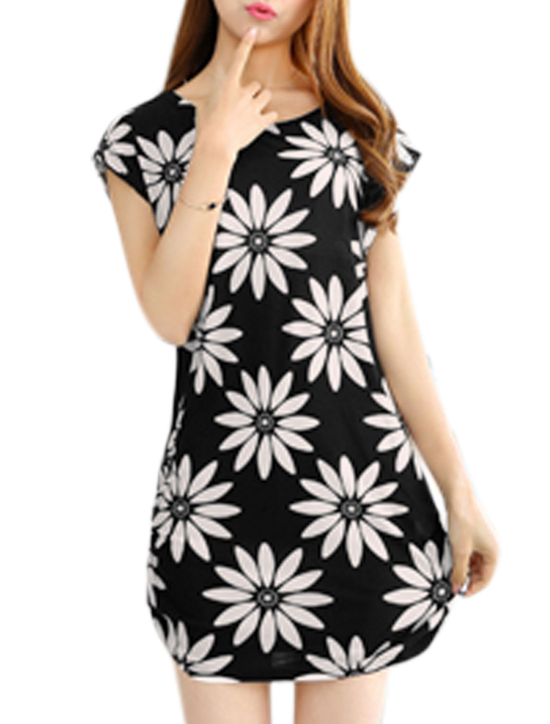 Women Short Sleeve Flower Print Sides Shirred Summer Dresses Black Beige S