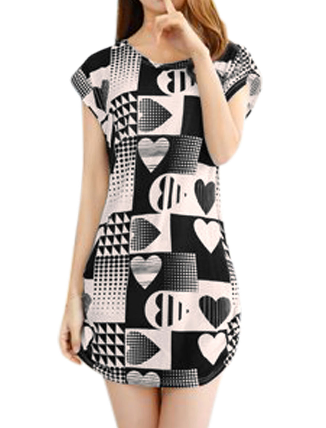 Ladies Short Sleeve Poker Print Sides Shirred Tunic Dresses Black Beige S
