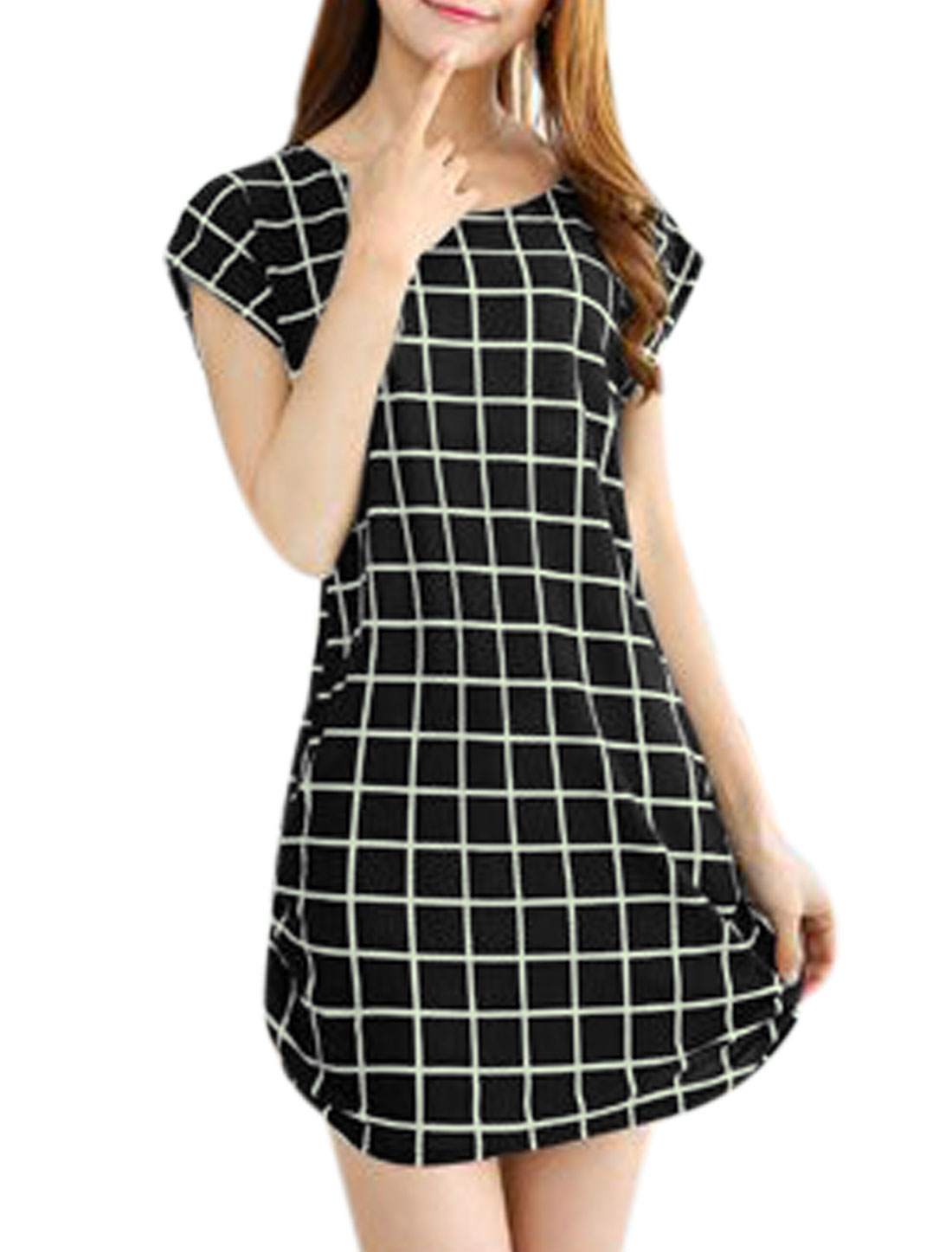 Women Short Sleeve Round Neck Check Print Sides Shirred Dress Black S