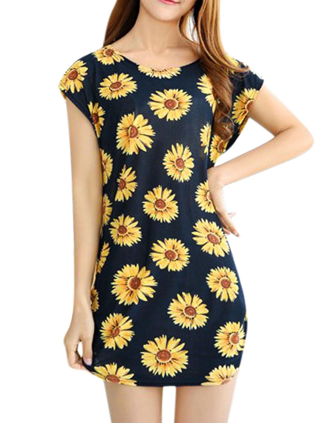 Women Short Sleeve Flower Print Sides Shirred Dress Navy Blue Yellow S