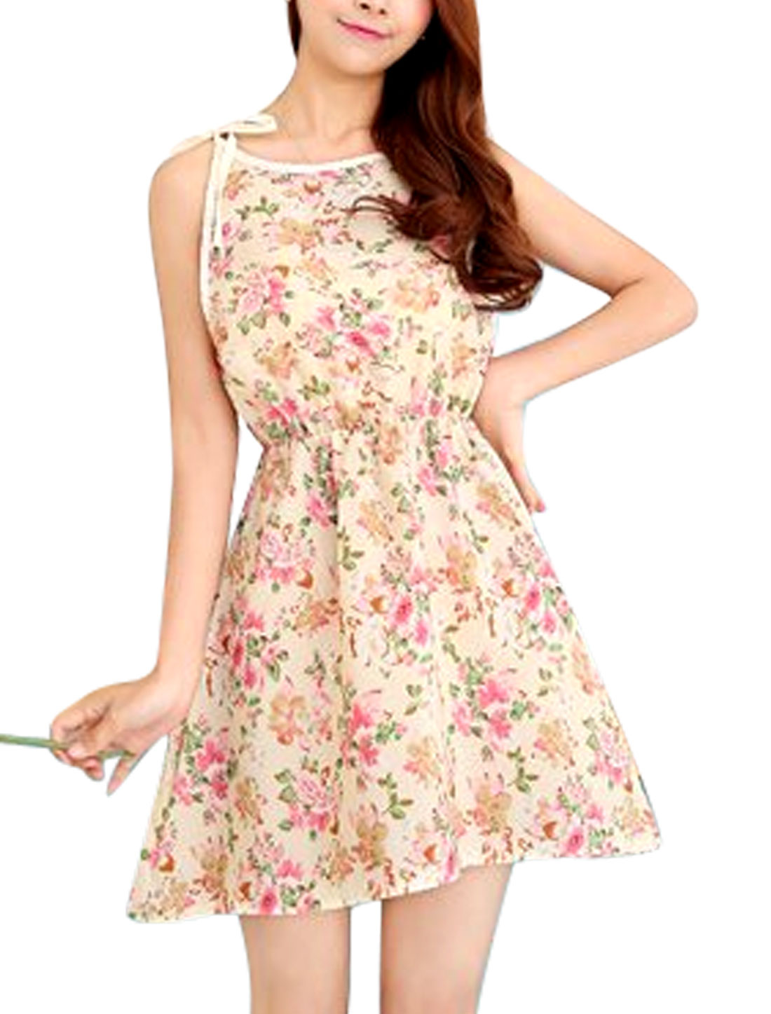 Lady Self Tie Straps Sleeveless Flower Prints Casual A-Line Dress Beige XS