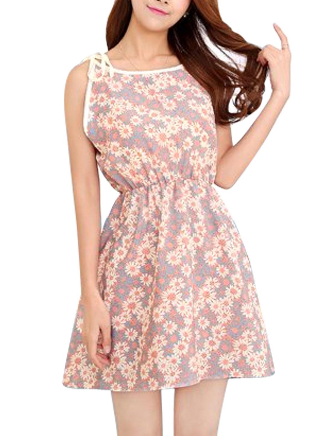 Ladies Round Neck Self Tie Straps Flower Prints Sun Dress Pink XS