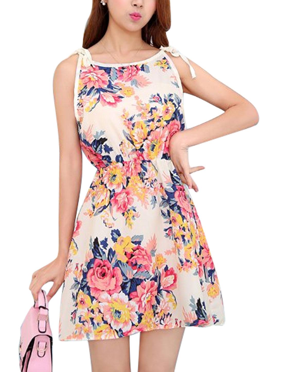 Ladies Round Neck Self Tie Straps Sleeveless Casual Floral Dress Beige XS