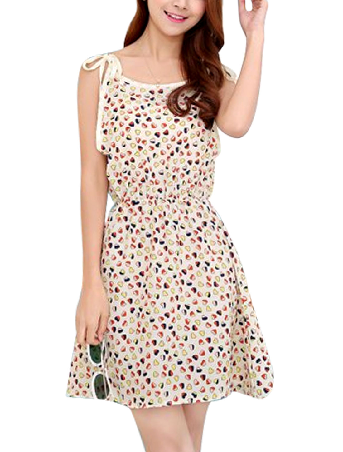 Women Sleeveless Self Tie Straps Hearts Prints Sun Dress Beige XS