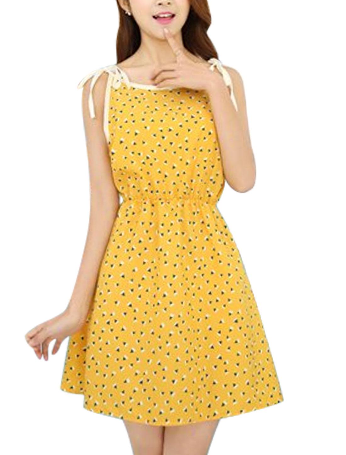 Women Self Tie Straps Sleeveless Geometric Prints A-Line Dress Yellow XS