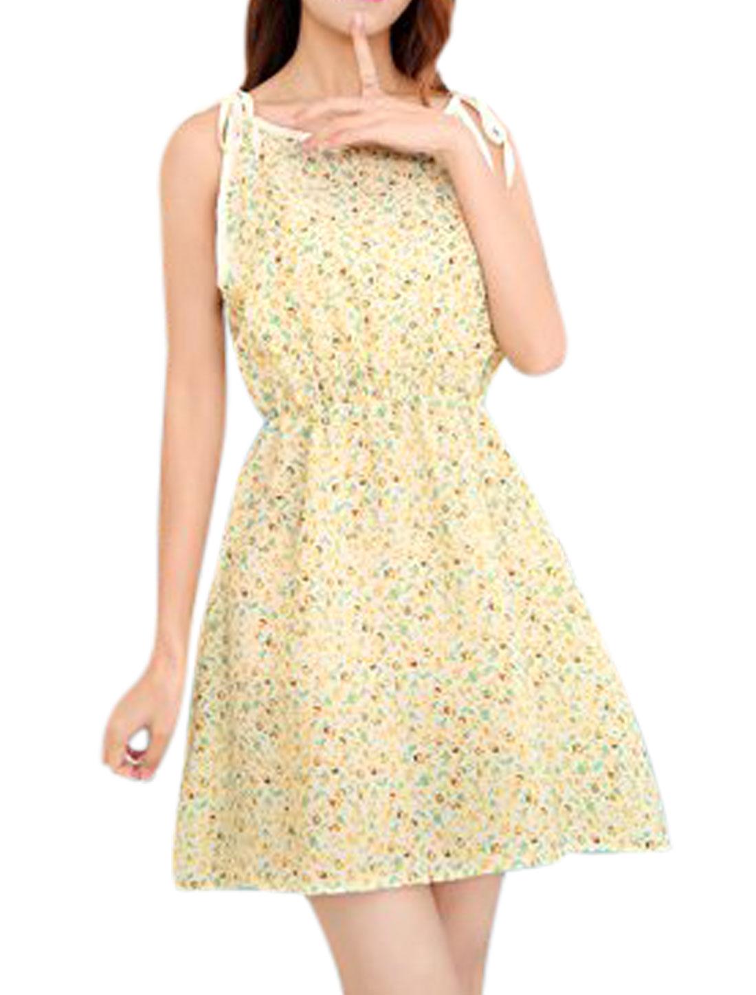Women Self Tie Straps Round Neck Sleeveless Elastic Waist Tea Dress Beige XS