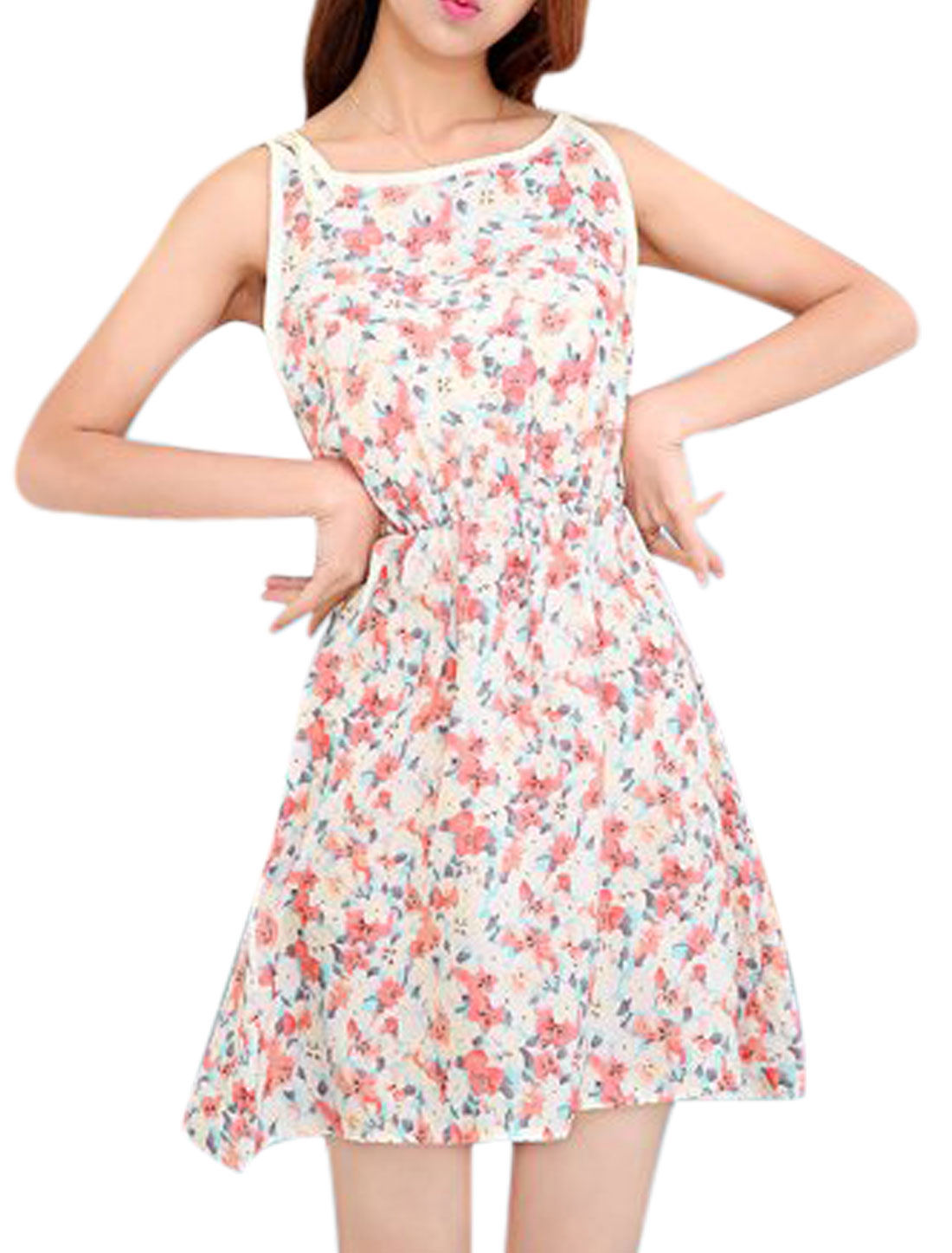 Lady Self Tie Straps Allover Floral Prints Sleeveless Sun Dress Multercolor XS