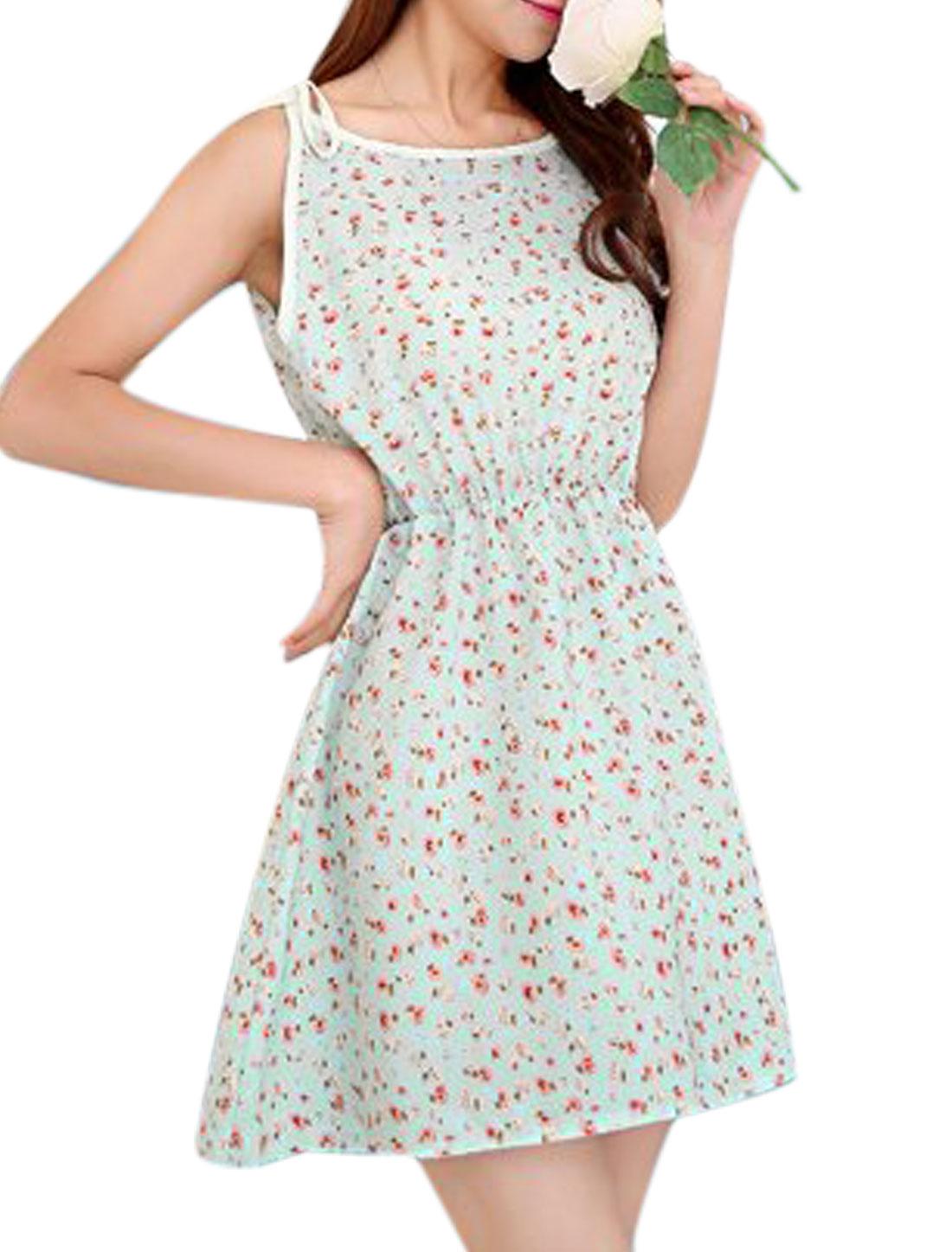 Lady Self Tie Straps Sleeveless Flower Prints Sun Dress Sky Blue XS