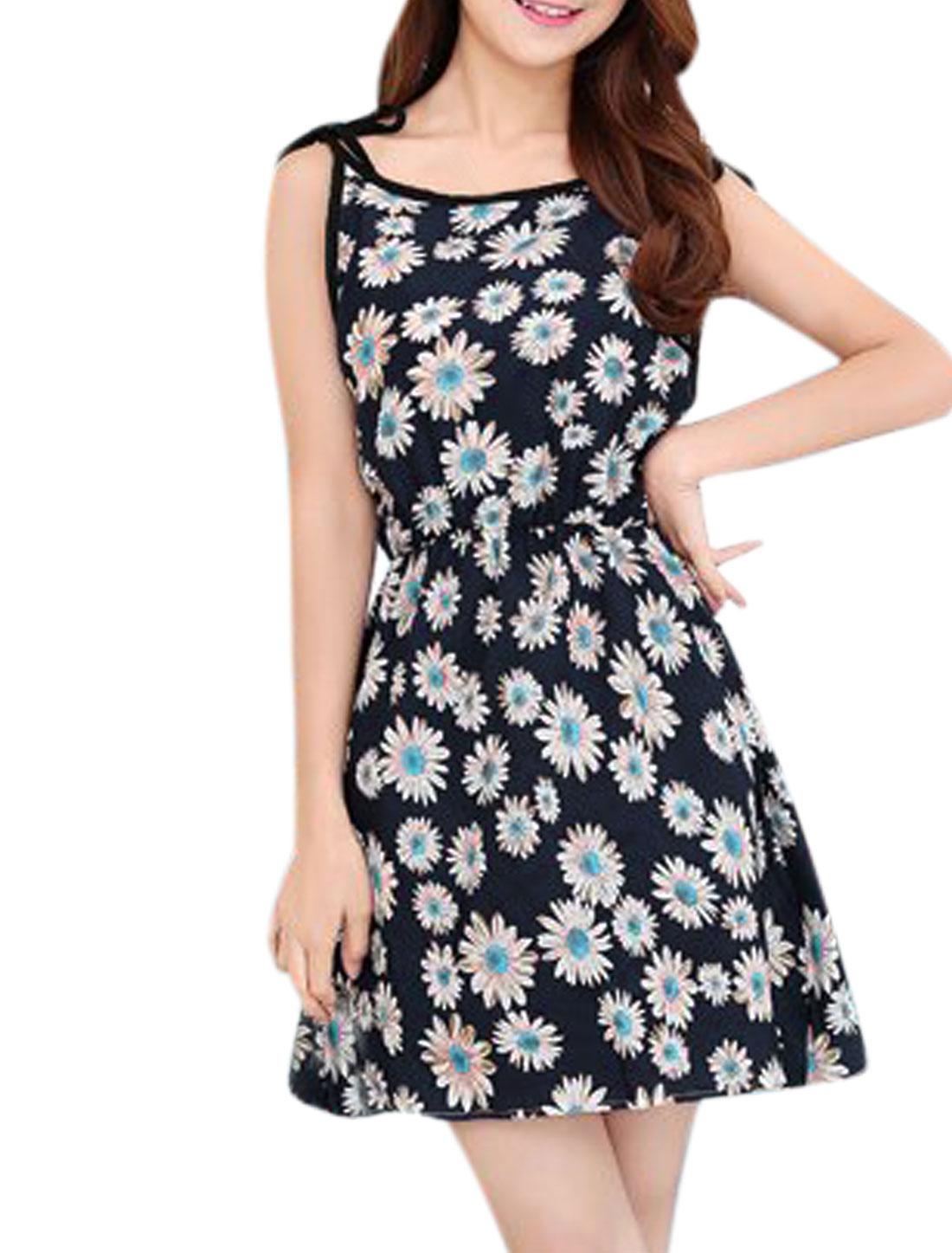 Ladies Elastic Waist Sleeveless Flower Prints Sun Dress Navy Blue XS