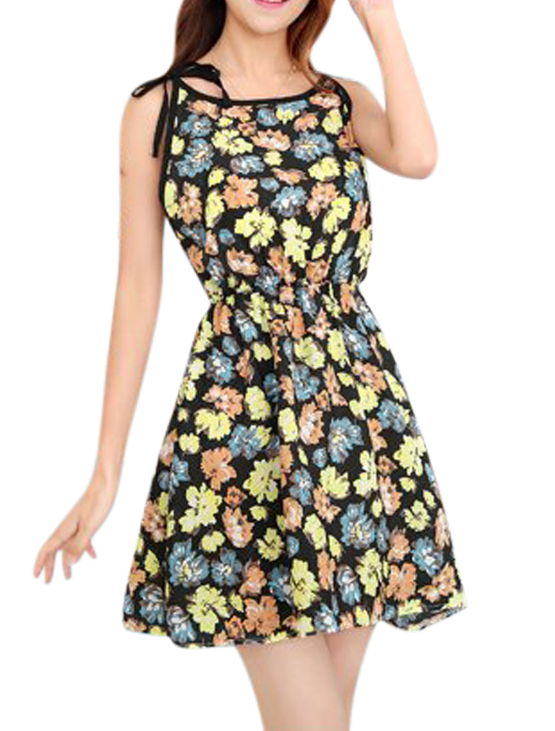 Women Self Tie Straps Flower Prints Sleeveless Elastic Waist Dress Black XS