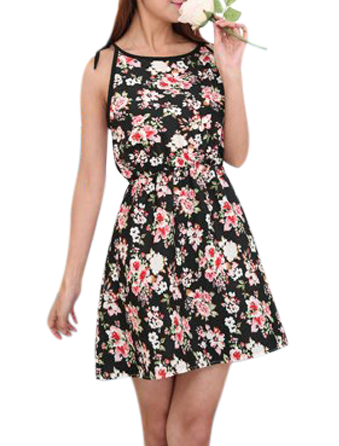 Women Round Neck Sleeveless Flower Prints Casual A-Line Dresses Black