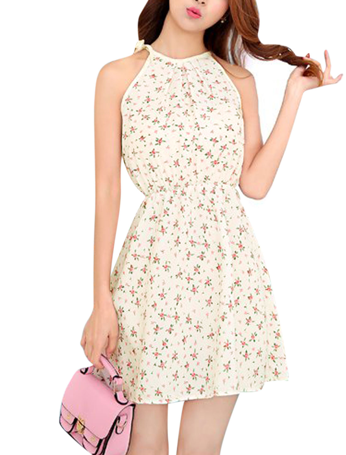 Women Round Neck Sleeveless Floral Prints Self Tie Straps Sun Dress Beige XS