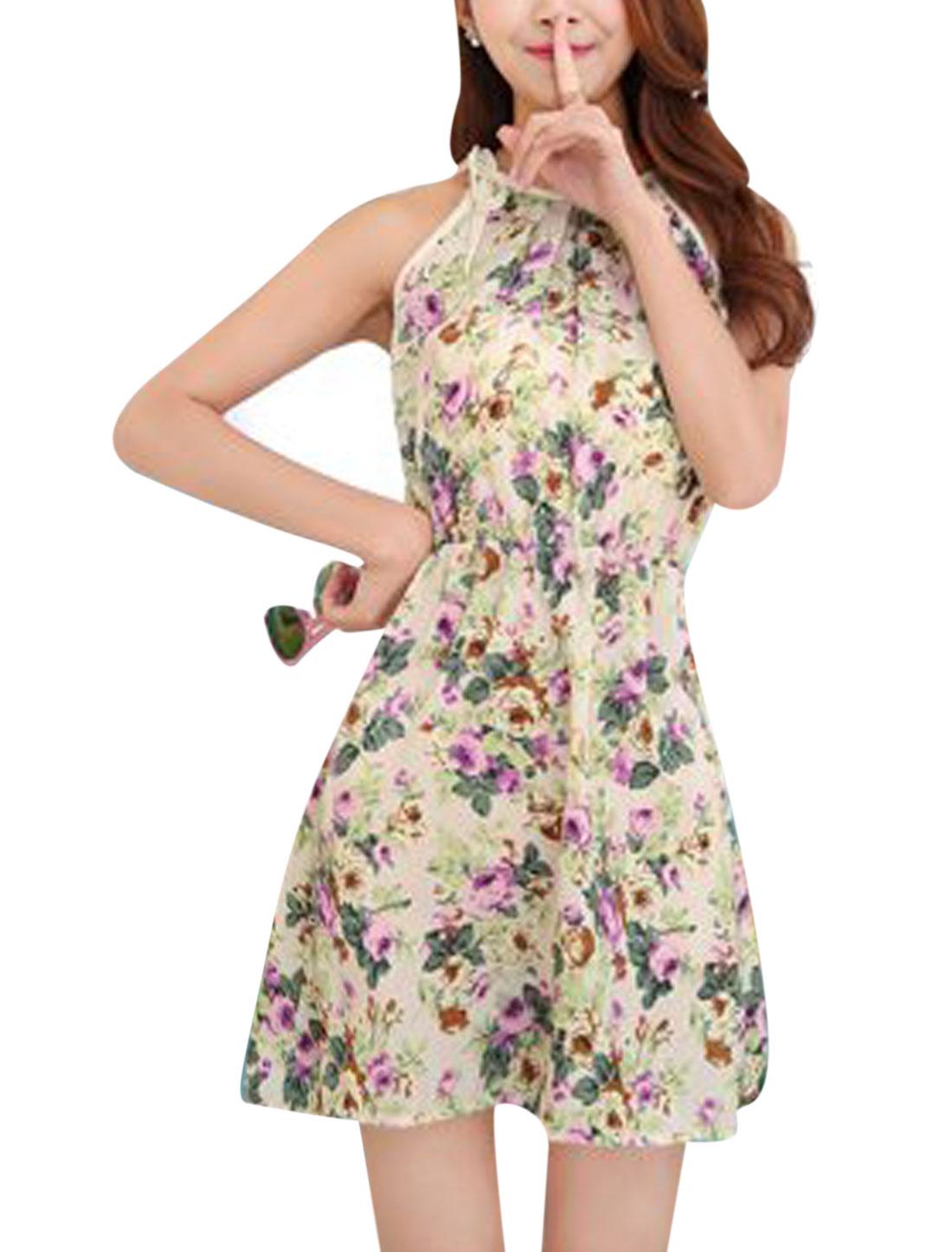 Women Self Tie Straps Round Neck Sleeveless Floral Dress Beige XS