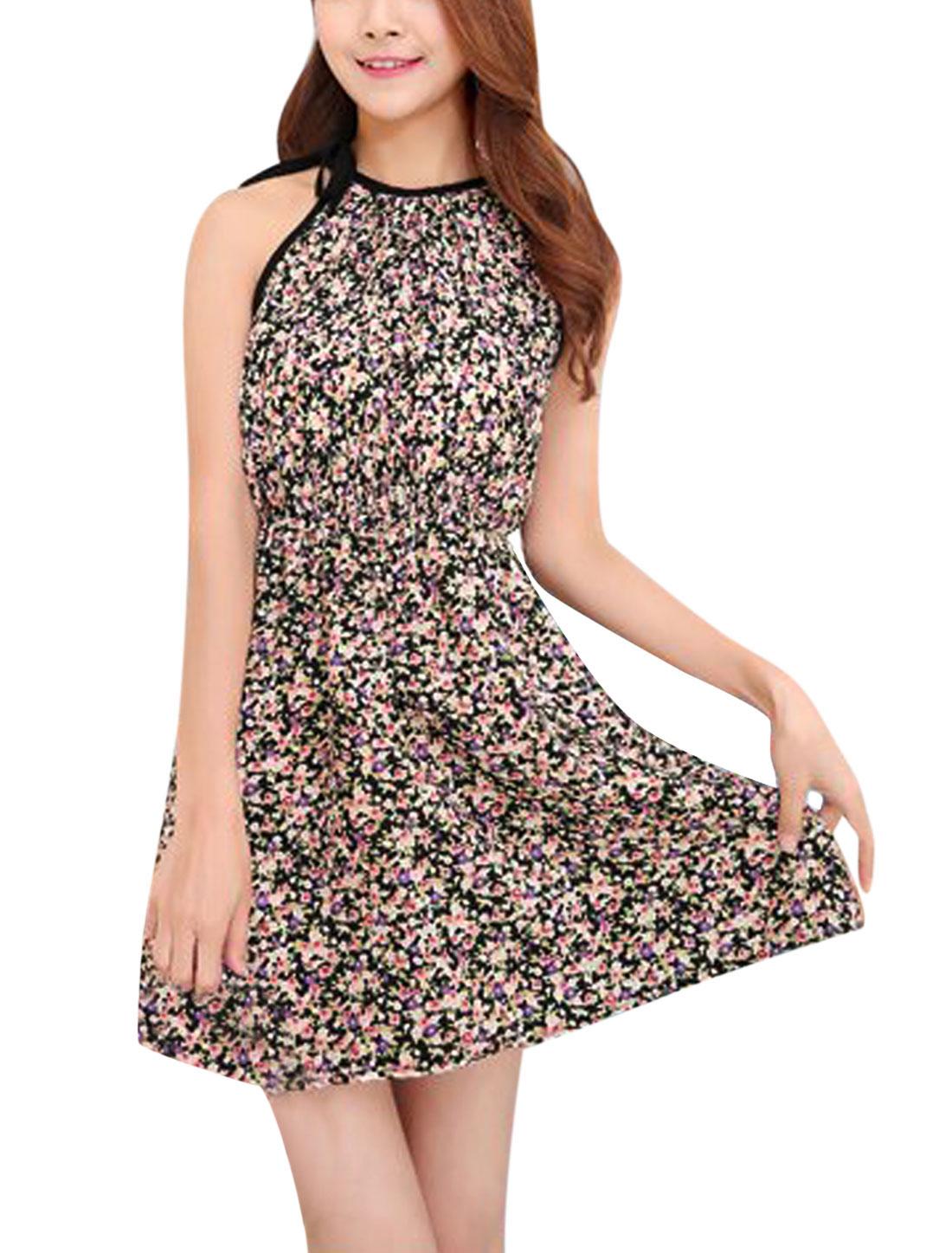 Women Round Neck Sleeveless Self Tie Straps Casual Tea Dress Black XS