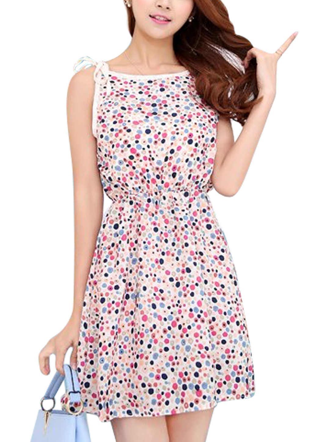 Lady Self Tie Straps Floral Prints Elastic Waist Sun Dress White XS