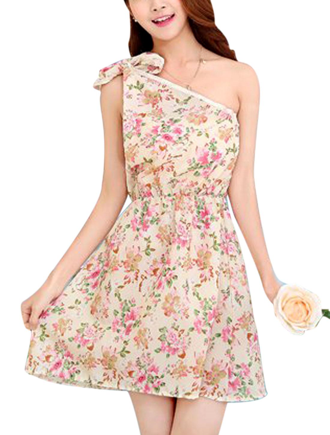 Ladies Floral Print Summer Self Tie Shoulder Beach Dress Beige Pink XS
