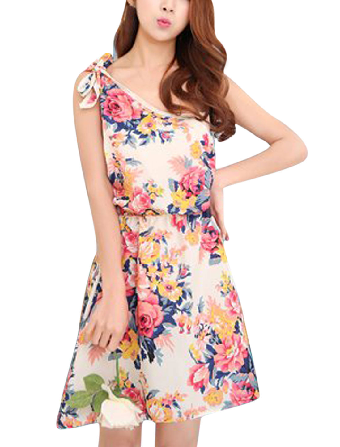 Ladies Flower Print One Shoulder Sleeveless Beach Dress Beige Red XS