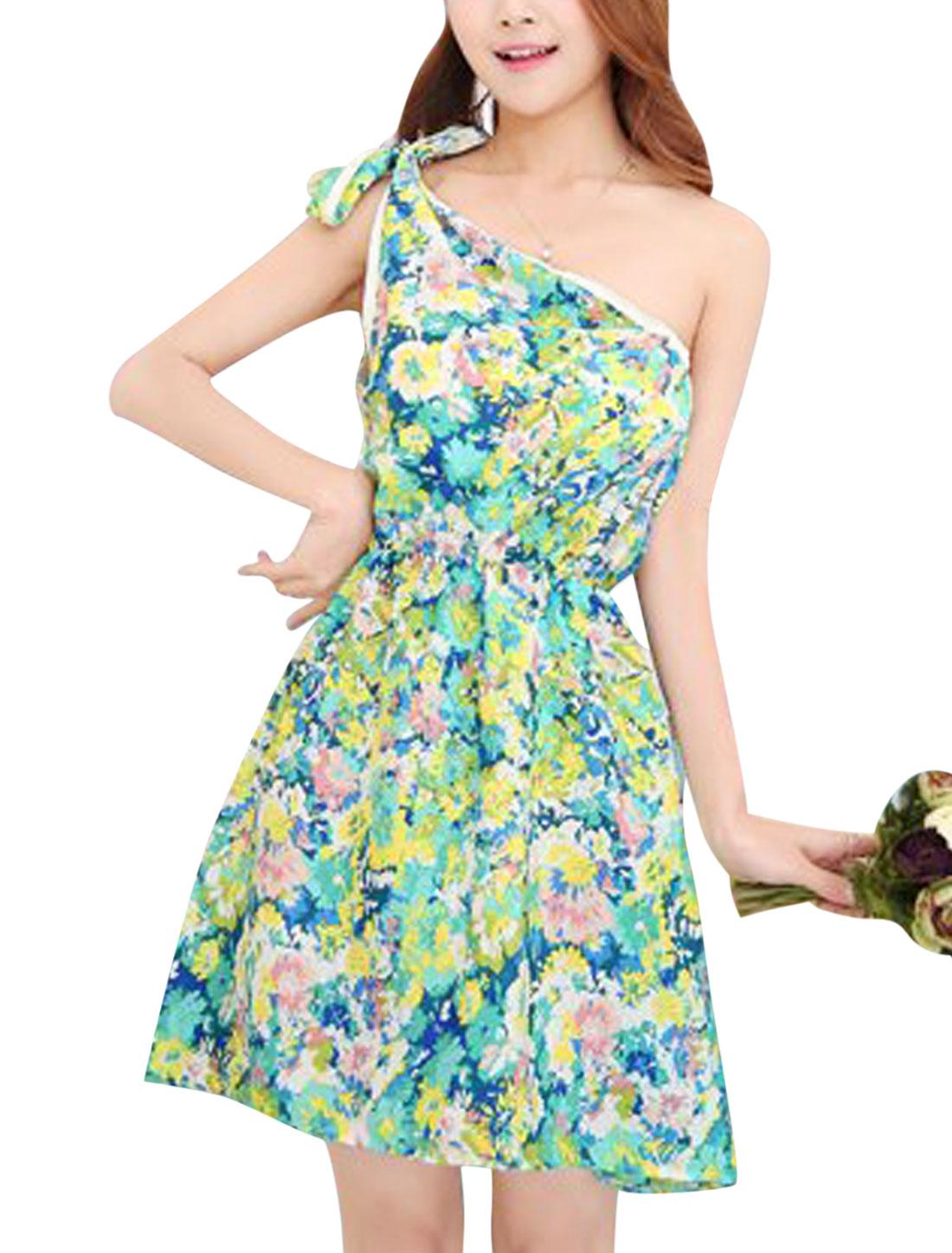 Ladies Floral Print Self Tie Shoulder Casual Summer Dresses Mint Blue XS