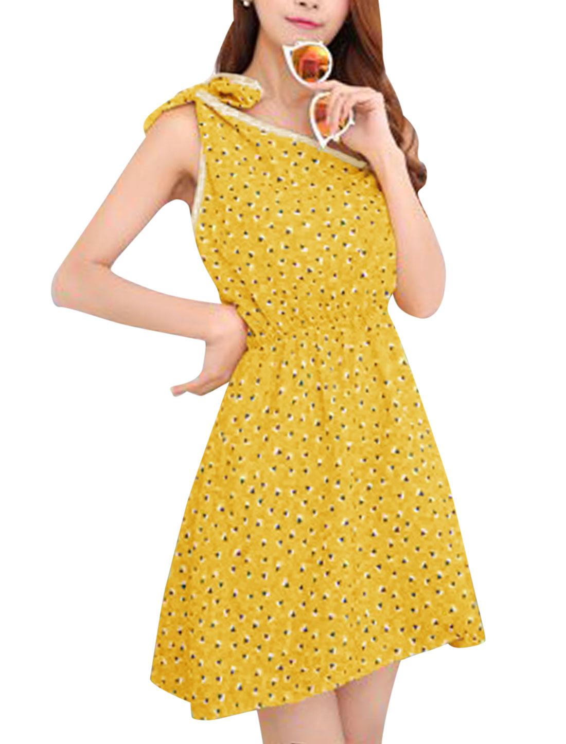 Women Geometric Print Summer Self Tie Shoulder Beach Dresses Yellow XS