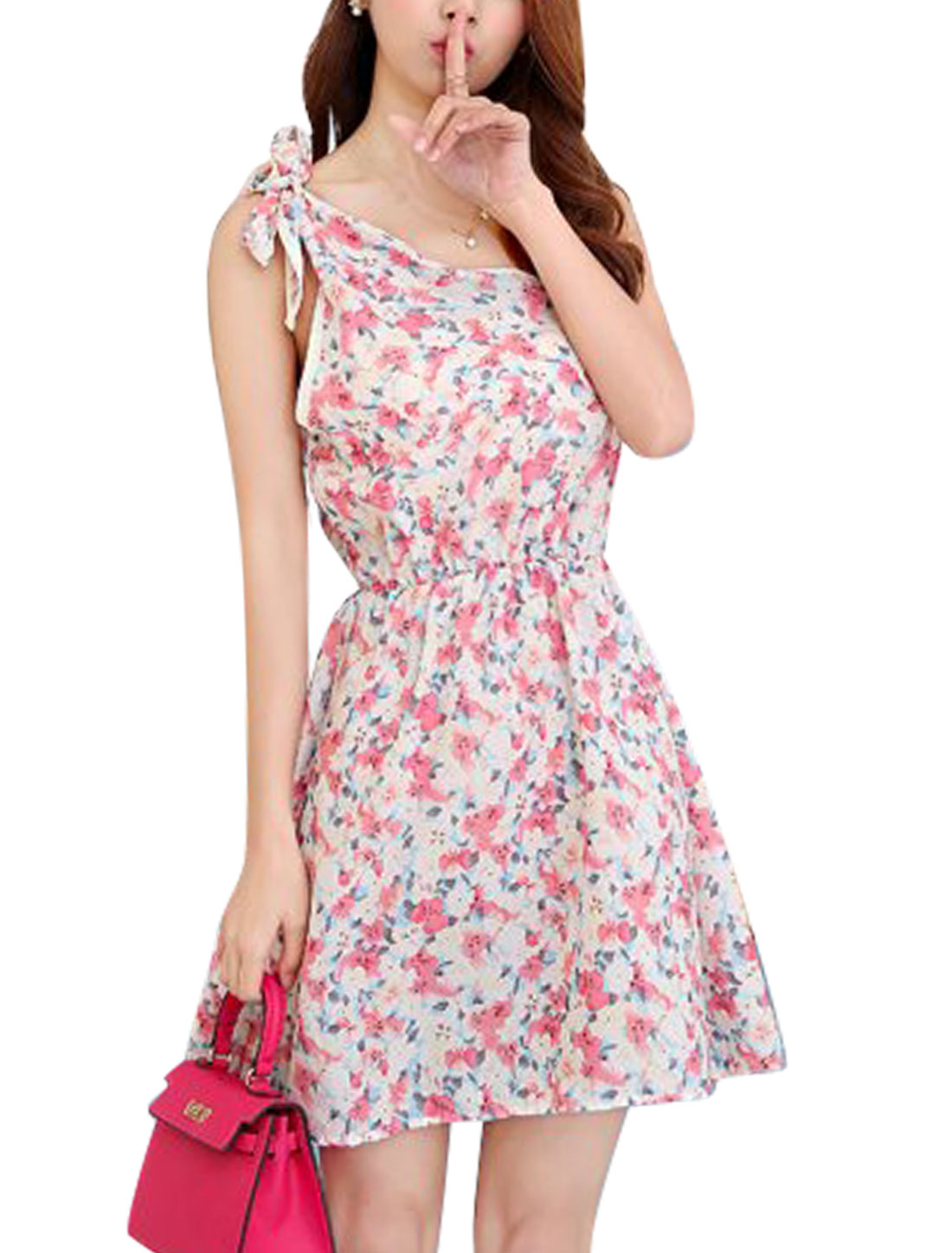 Women Floral Pattern One Shoulder Casual Dress Pale Pink Beige XS