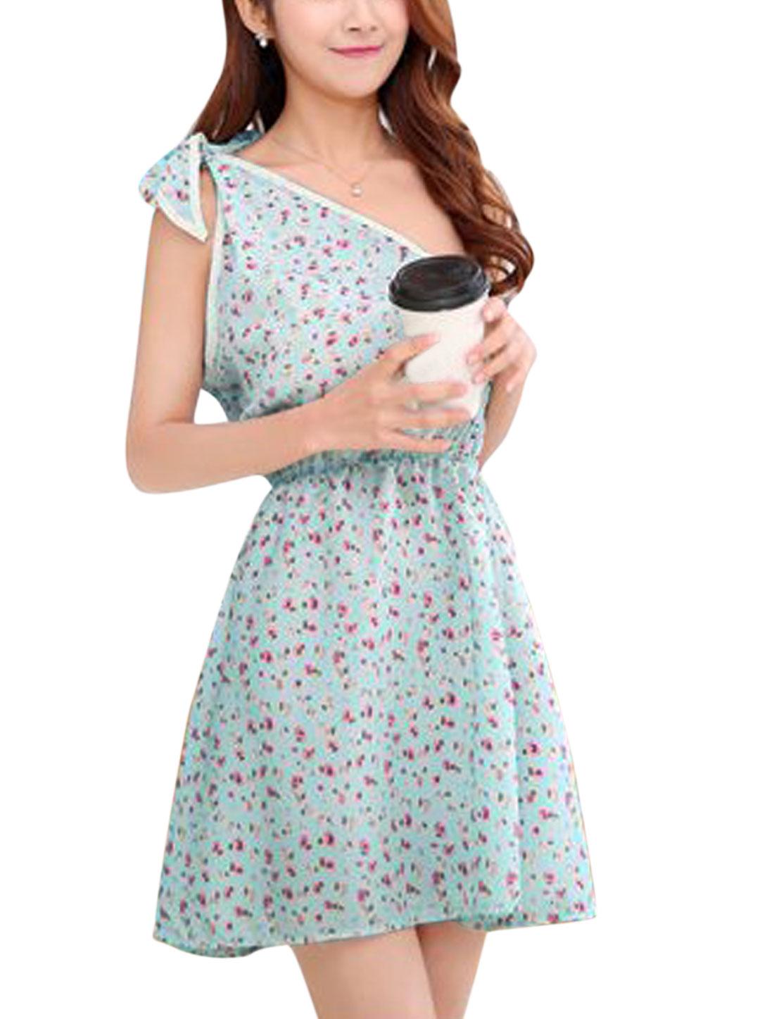 Women Floral Print Summer One Shoulder Elastic Waist Beach Dress Mint Beige XS