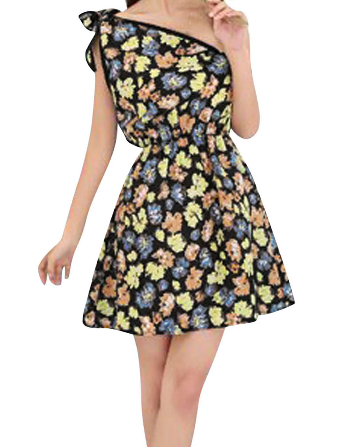 Women Elastic Waist Floral Print Self Tie Shoulder Dress Navy Blue Yellow XS