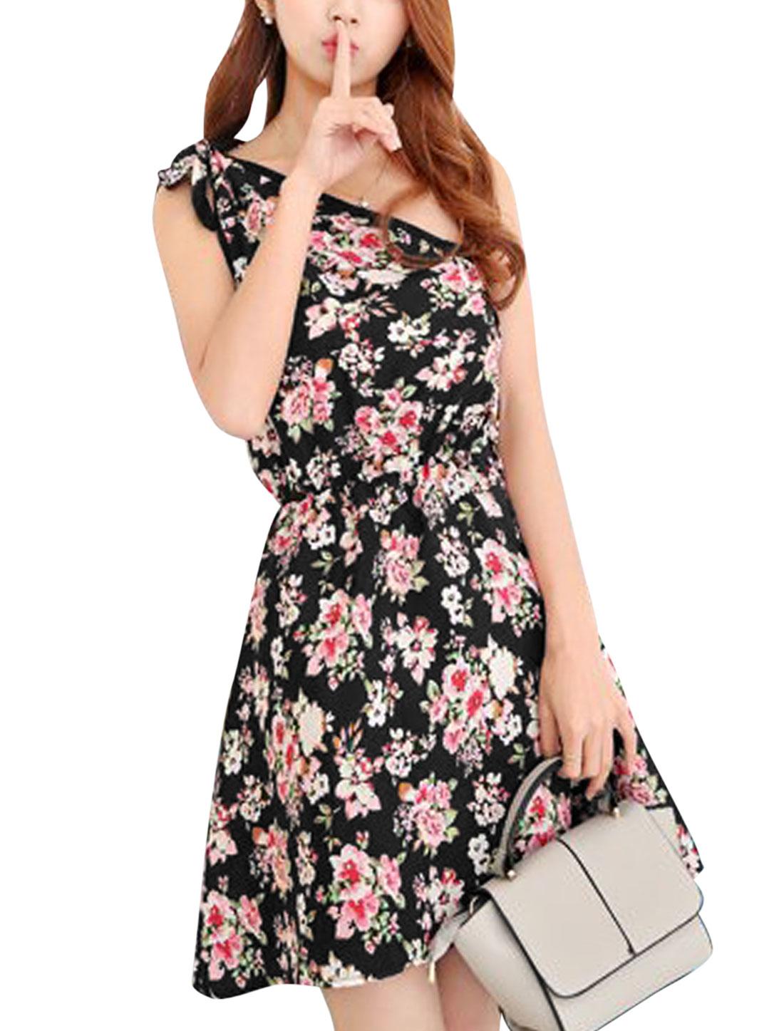 Women Elastic Waist Floral Print Self Tie Shoulder Summer Dresses Black Pink XS