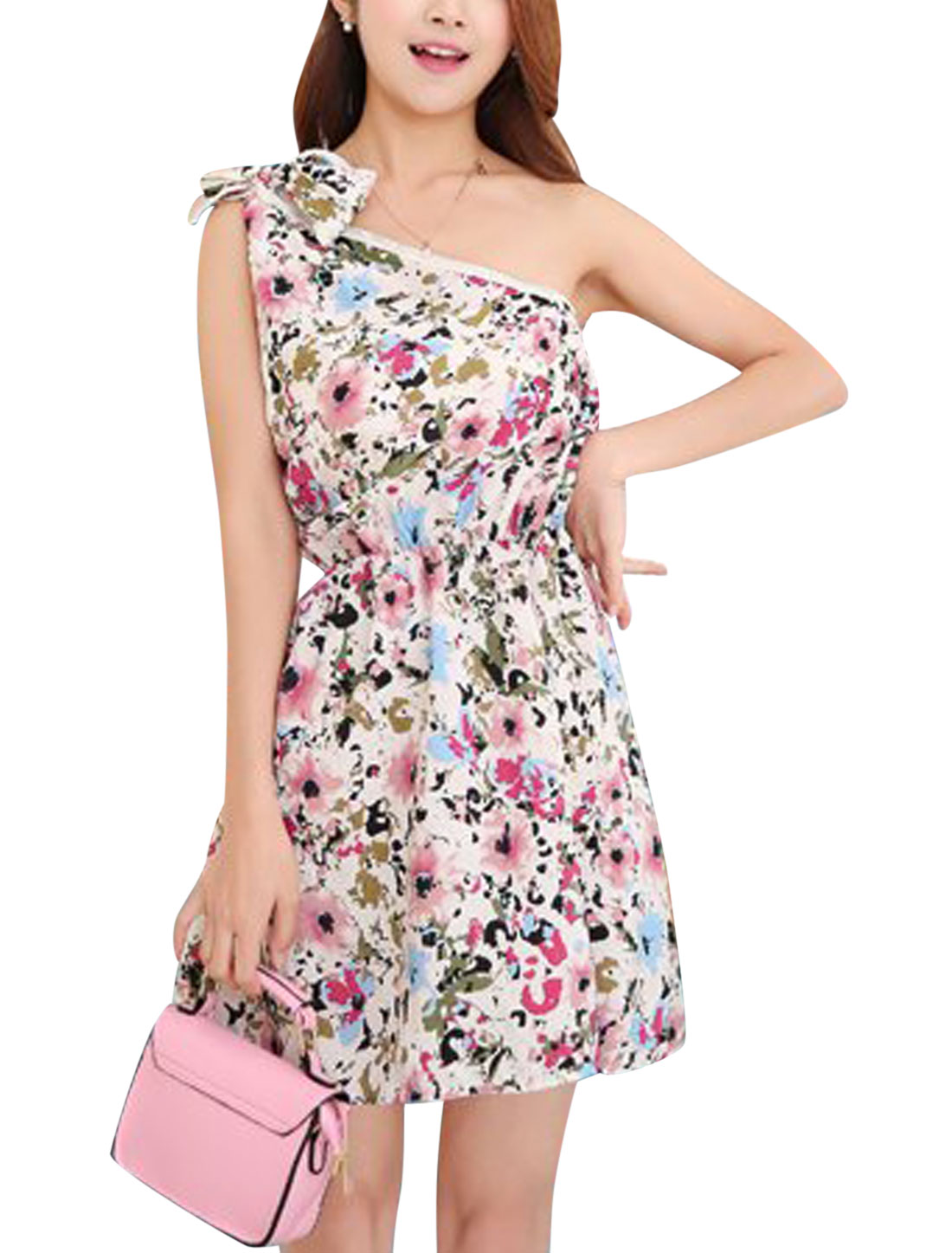 Women Floral Novelty Print Self Tie Shoulder Beach Dresses Pink White XS